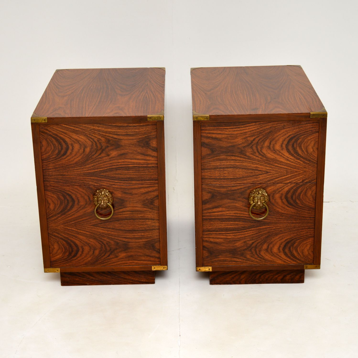 pair rosewood retro antique vintage bedside chests cabinets tables